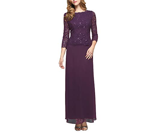 Alex Evenings Women's Long Mock Dress with Full Skirt (Petite and Regular Sizes), Deep Plum, 10P
