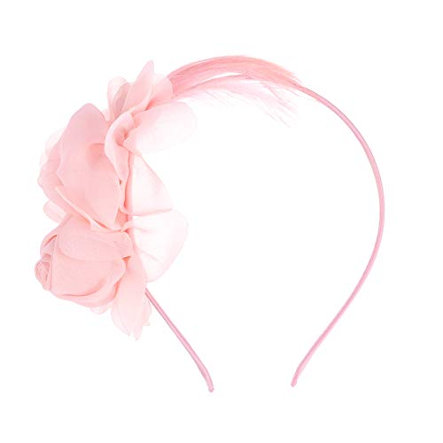 WINOMO Frauen Mädchen Blumen Und Federn Geschmückten Haar Haarspangen Haar Schleife (Rosa)