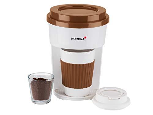 Korona 12202 Kaffeemaschine in braun/weiß | Filter Kaffeeautomat mit Becher To Go | 350 ml