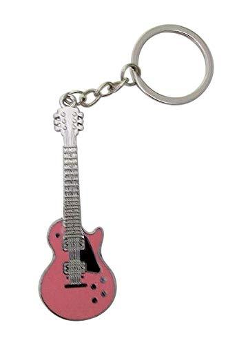 Schlüsselanhänger, Taschenschmuck Gitarre, elektrischer Stil, 6 Farben zur Auswahl Hellrosa.