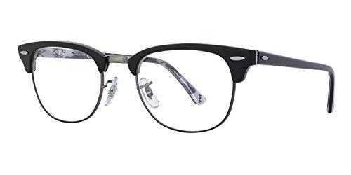 PIRASO Eyeglasses BLACK Frames For Eye Glasses For Mens Womens Girls Boys (Clear-Clubmaster-Black-Frame-Single) Glasses/Computer Reading/Gaming/TV/Phones Glasses for Women Men