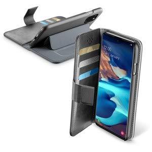 Cellularline Book Agenda Schwarz Cover Flip Echt Leder Wallet Handyhülle mit Magnetverschluss Bookstyle Tasche mit Taschen & Kartenhalter Passend für: Samsung Galaxy A91/S10 Lite