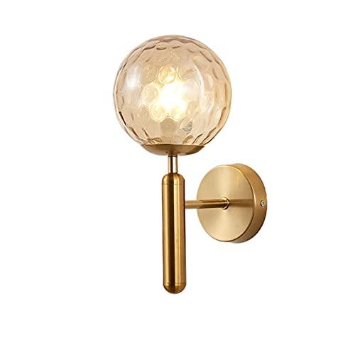 Lámpara de Pared Interior nórdica Montaje en Pared Pantalla de Vidrio Conector E27 para Salon Dormitorio Sala Pasillo Escalera Metal Sconce Apliques Decorativa No Incluye Bombilla,Gold 2