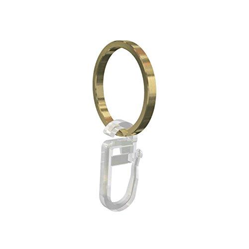 Flairdeco Gardinenringe / Ringe mit Faltenhaken, Messing matt, 28/24 mm, 20 Stück