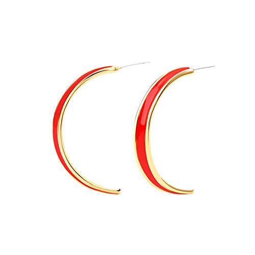 Orecchini a perno a forma di C per l'estate, in stile fluorescenza, colore europeo e americano, anallergici, a forma di C, colore metallo: 4