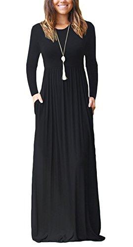 ZIOOER Damen Casual Lose Maxikleider Lange Ärmel Kleider Lange Kleid mit Taschen Schwarz L