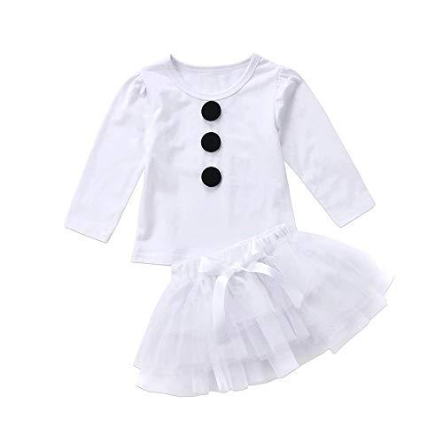Princesa Vestido Bebe nia Chica Conjunto de Dos Piezas Camiseta de Manga Larga + Mesh Princess Tutu 6 Meses-4 aos Conjunto de mueco de Nieve de Navidad