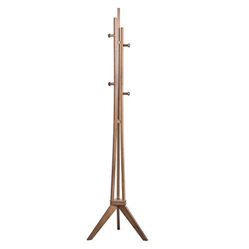 Perchero de Pie Bamboo Coat Rack Hall de entrada Soporte de base de triángulo de suspensión simple y base giratoria for almacenamiento de ropa Mochila Bufanda Bolso (marrón) Perchero para Abrigos
