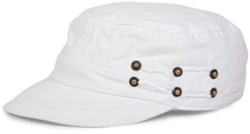 styleBREAKER Military Cap im Washed, Used Look, verstellbar 04023011, Farbe:Weiß
