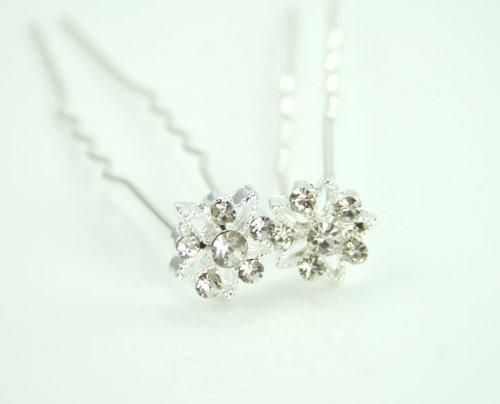 LJ Designs Epingles à cheveux étoiles en argent et cristal (T59)