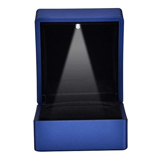 TMISHION Caja de Anillo LED de Moda de 2 Tipos - Soporte de exhibición de joyería de Caja de Almacenamiento Luminoso LED, Caja de Anillo/Colgante, para propuesta de Matrimonio