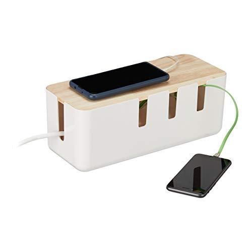 Relaxdays Kabelbox groß, für Steckdosenleiste, Kunststoff & Holz, Kabel verstecken, 11,5x30x12,5 cm, Steckdosenbox, weiß