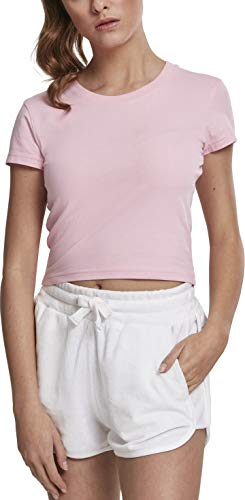 Urban Classics Ladies Stretch Jersey Cropped tee Camiseta, Rosa (Barbie Pink 01689), Large para Mujer
