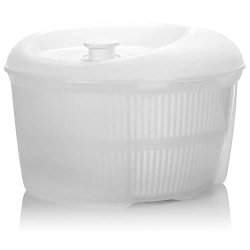 COM-FOUR® Salatschleuder mit Deckel, einfaches Schleudern durch Kurbelantrieb, Kunststoff Salatschüssel in weiß, komplett zerlegbar auch als Rührschüssel 4 Liter, spülmaschinengeeignet - Ø 24 cm