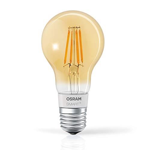 OSRAM SMART+ LED Filament Gold, Bluetooth Lampe mit E27 Sockel, dimmbar, ersetzt 50W Glühbirne, warmweiß , Kompatibel mit Apple Homekit und LEDVANCE Smart+ App für Android