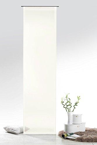 Fashion&Joy - Schiebegardine Voile Natur HxB 245x60 cm mit Zubehör - transparent einfarbig - Flächenvorhang Schiebevorhang Gardine Typ418