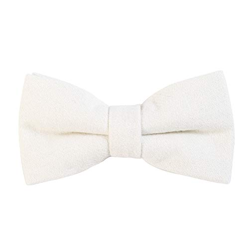 DonDon Herren Fliege 12 x 6 cm Baumwolle gebunden und längenverstellbar weiß