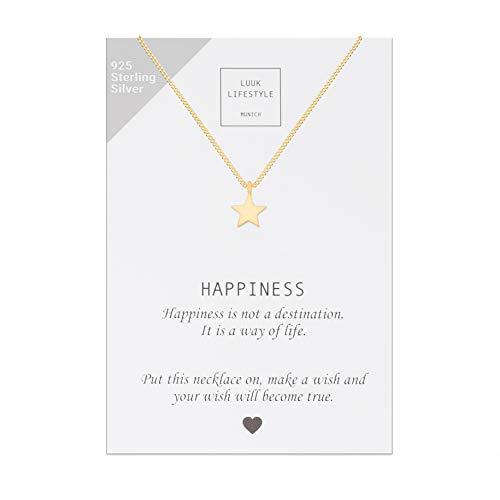 LUUK LIFESTYLE Collar de plata de ley 925 con colgante de estrella y cita Happiness, joya de mujer, tarjeta de regalo, amuleto, oro