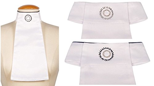 Harry's Horse dames plastron cirkel wit klittenband vaste strass broche NIEUW DESIGN