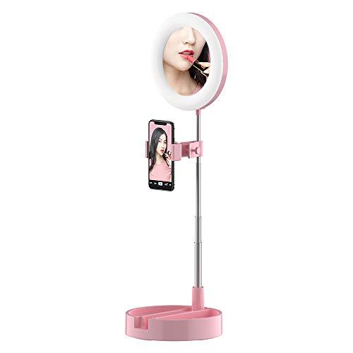 Andoer Luz de Anillo LED, Aro de Luz Plegable con Soporte para Teléfono, Temperatura de Color de 3200K-6000K para Selfie, Maquillaje, Youtube, TIK Tok (Rosado)