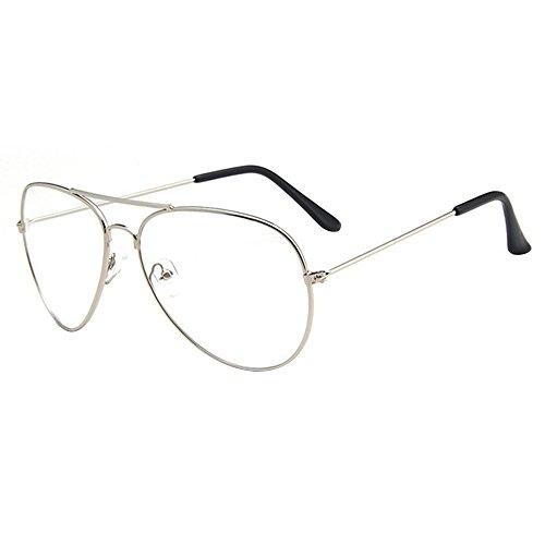 forepin Montura Gafas de Aviador para Unisex Hombre y Mujer con Montura de Metal-Acero Fino Retro Vintage Lente Transparente Visión Clara (Plata)+ Embalaje