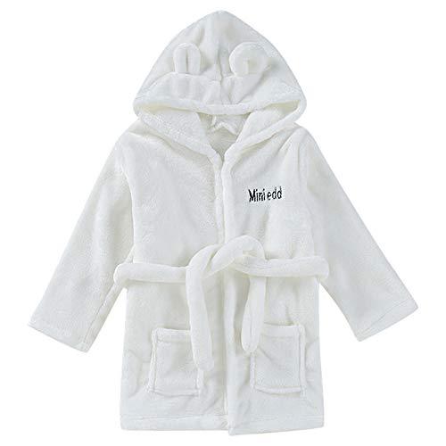 MRULIC Baby Jungen und Mädchen Bademantel Baumwolle Plüsch Kapuzenbademantel Handtuch Pyjamas Nachtwäsche Warme Winter und Frühling Overall mit Gürtel(Weiß,18-24 Monate)
