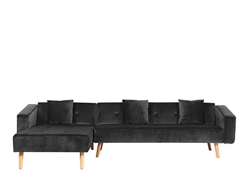 Canapé d'angle Noir Velours Moderne Confort