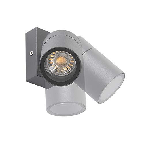 QAZQA Modern Außen Wandleuchte anthrazit IP44 dreh- und neigbar - Solo/Außenbeleuchtung/Up/Down Edelstahl Zylinder LED geeignet GU10 Max. 1 x 35 Watt