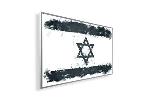 Könighaus Fern Infrarotheizung – Bildheizung in HD mit TÜV/GS - 200+ Bilder - Mit Smart Thermostat + Könighaus APP übers Handy - 300 Watt -147. Israelische Flagge Black Edition_WR