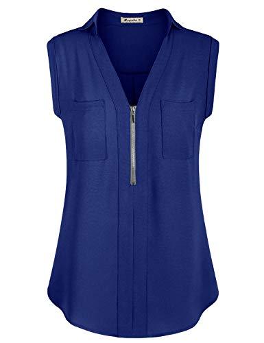 Moyabo Camiseta de mujer con cuello en V, blusa sin mangas, informal, trabajo, túnica, con cremallera azul cobalto S