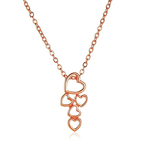 2021 Fashion Simple Long Chain Five Heart Pendant Necklace Choker Women Jewelry - Rose Gold