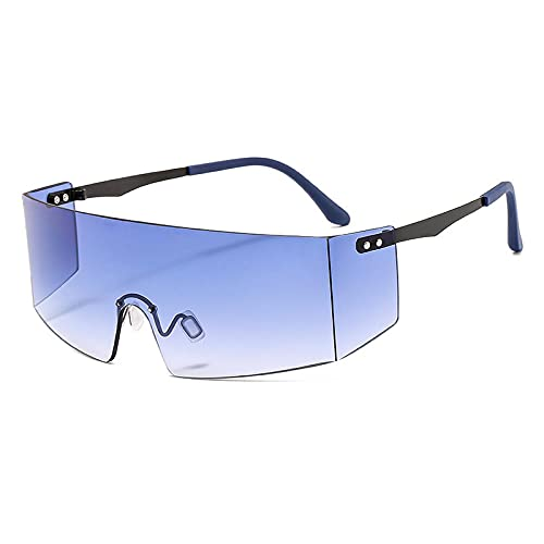 Gafas De Sol Gafas De Sol Sin Montura De Moda para Mujeres Y Hombres, Gafas Grandes Planas, Gafas De Sol De Gran Tamaño, Gafas De Espejo para Mujer, Uv400 C7, Dorado-Azul Claro