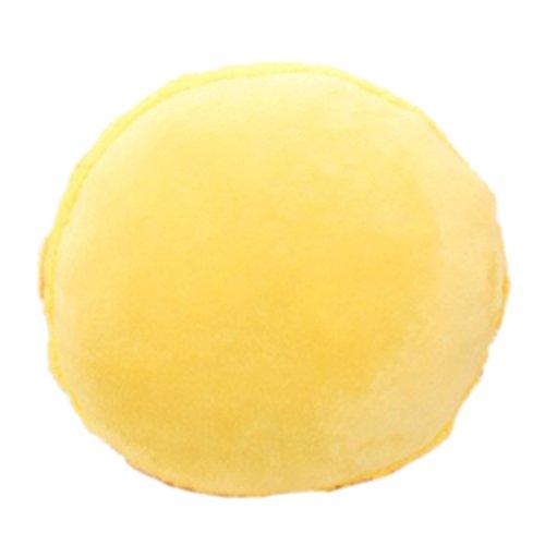 Nunubee Mignon Coussins en forme de Macaron Coussins de Chaise Décoratifs Oreillers Jouet En Peluche, Jaune