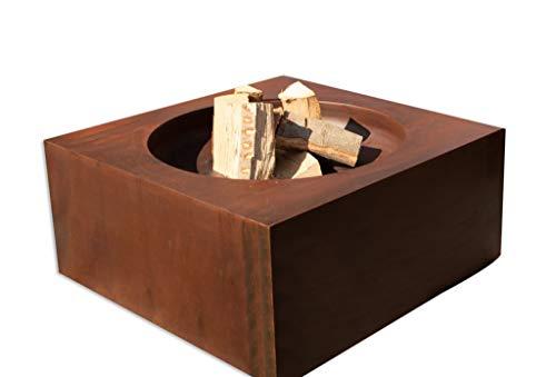 3 in 1 Grill-Feuerschale-Lounge Tisch aus Cortenstahl QR1000