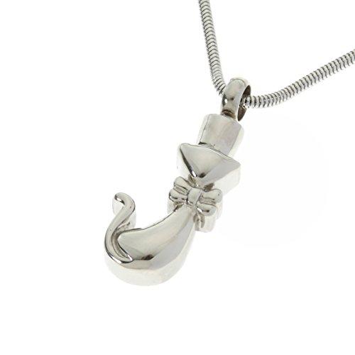 Urns UK crematie as sieraden hanger Chelsea ontwerp 52 met ketting, roestvrij staal zilver, 1x2x0.3 cm