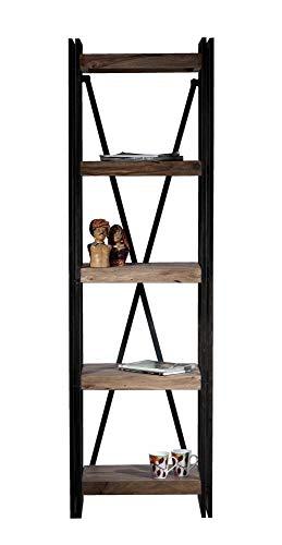 Sit Möbel 9298-01 Regal Panama Shesham Natur mit schwerem Altmetall und Gebrauchsspuren, 60 x 40 x 200 cm, 5 Böden