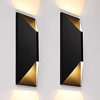 LEONLITE Dimmable LED Up Down Wall Light 100-277V CRI 90+ 22W Outdoor Wall Sconce IP65 Waterproof Modern Porch Light 3000K Warm White Pack of 2