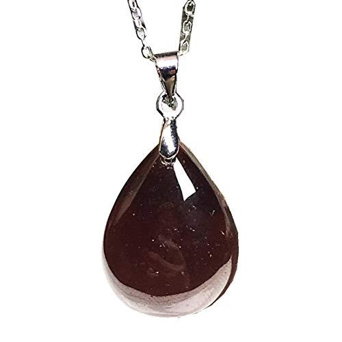 DUOVEKT Collar con colgante de granate, cristal rojo natural para mujeres y hombres, plata de 21 x 16 x 8 mm, cuentas ovaladas de piedras preciosas, cadenas de plata AAAAA