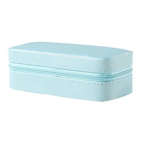 Organizador de Caja de joyería Rectángulo Pulsera Caja Pendientes Pulsera Collar Anillo PU Caja De Cuero Pines Broche Adornos Organizador Joyería Holder (Color : Blue)