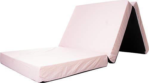 Reisebett-Matratze, Kindermatratze, Klappmatratze, Spielmatratze, Reisematratze, Bezug 100% Baumwolle,120x60x6cm, Babyblume, PUNKTE, rosa-weiß