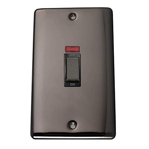 Pentire Interruptor de doble polo+placa doble neón (86 × 146) níquel negro, interruptor de metal