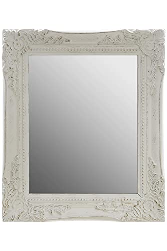 32x27x3cm rectángulo espejo de pared, vendimia-antiguo-marco de madera hecho a mano, blanco, incluido prensión