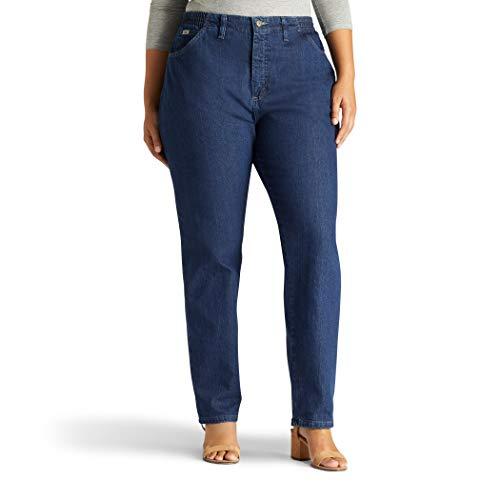 Lee Women's Plus-Size Relaxed Fit Side Elastic Tapered Leg Jean, Dark Indigo, 20W Medium