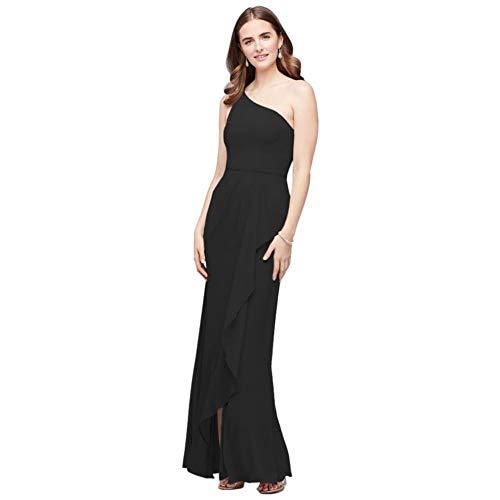 One-Shoulder Chiffon Bridesmaid Dress with Cascade Style F20011, Black, 12
