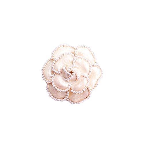 Broches de camelia de esmalte de perlas para mujer, alfileres de flores...