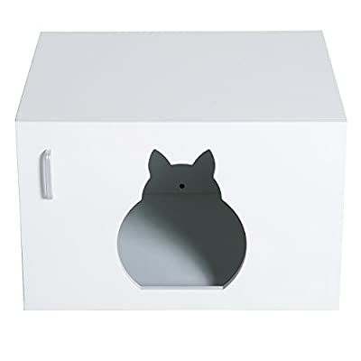 PawHut Wooden Cat Litter Box Toilet Home Cabinet Pet Self Cleaning Kitty House Stand Bathroom Furniture Hidden Washroom White 63Lx53.5Wx41H(cm)