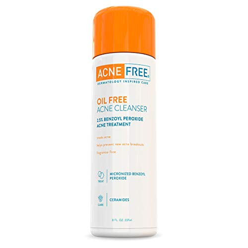 Acne Free Oil-Free Acne Cleanser, Benzoyl Peroxide 2.5% Acne Face Wash with Glycolic Acid to Prevent and Treat Breakouts, 8 Ounce
