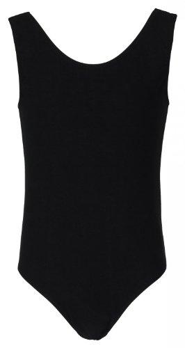 tanzmuster ® Ballettanzug Mädchen ärmellos - Lissy - (Größe 92-170) aus weicher, atmungsaktiver Baumwolle Ballett Trikot Ballettbody in schwarz, Größe 164/170