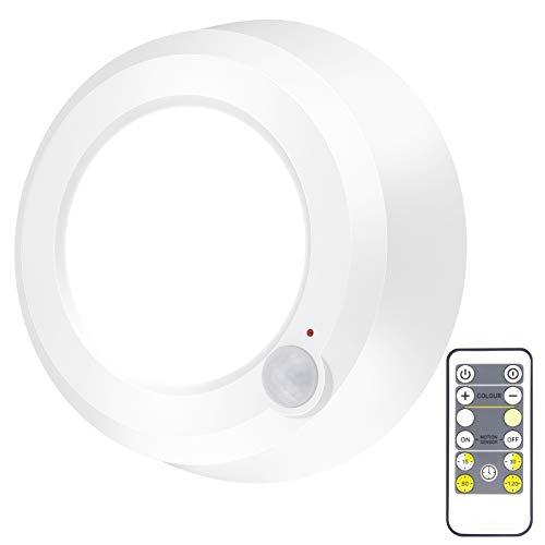 HONWELL LED Deckenleuchte mit Bewegungsmelder Badezimmerleuchte Batteriebetrieben mit Fernbedienung RF-Signaldetektor für Garage Flur Badezimmer Speisekammer Treppe Schrank Balkon, Warm/Kalt weiß