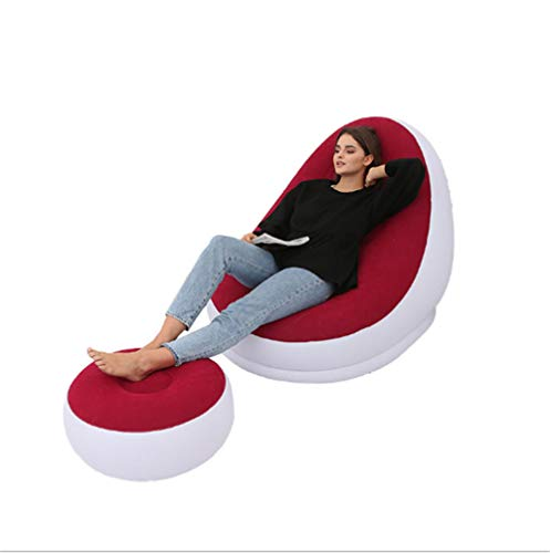 LaKoos Matelas de Pied Portable extérieur de canapé-lit Simple Paresseux Gonflable de Luxe, 116x98x83cm, adapté pour Le Camping, la randonnée, Les Voyages, la Plage-Rouge
